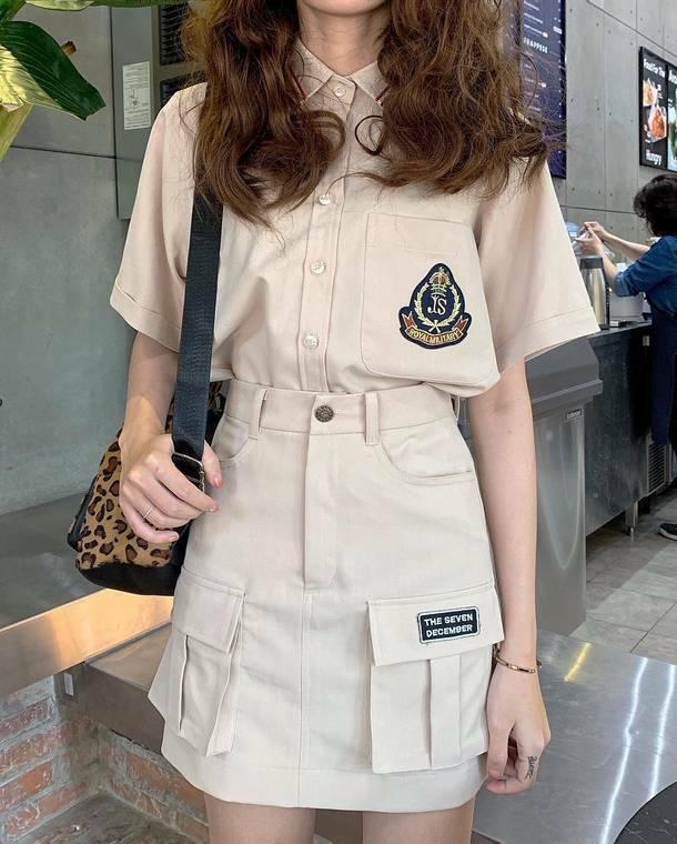 【送料無料】 夏のミリタリーコーデ ♡ 2点セット セットアップ カジュアル シャツ × スカート