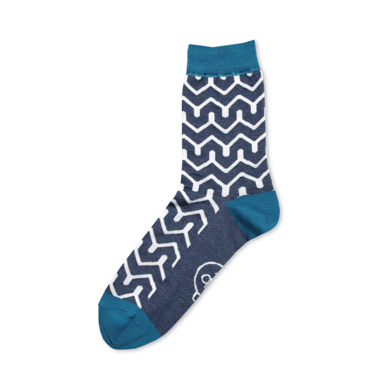紬POP|靴下|毘沙門山形|ブルー 《UNISEX》