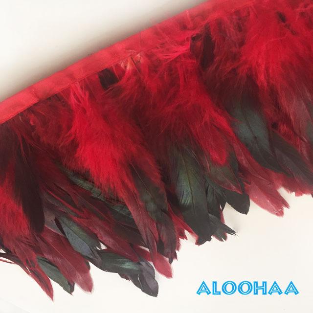 フェザーロール 【赤】 14~19cm丈 1m DIY 羽 タヒチアン 衣装材料 タヒチアン ポリネシアンフェザー