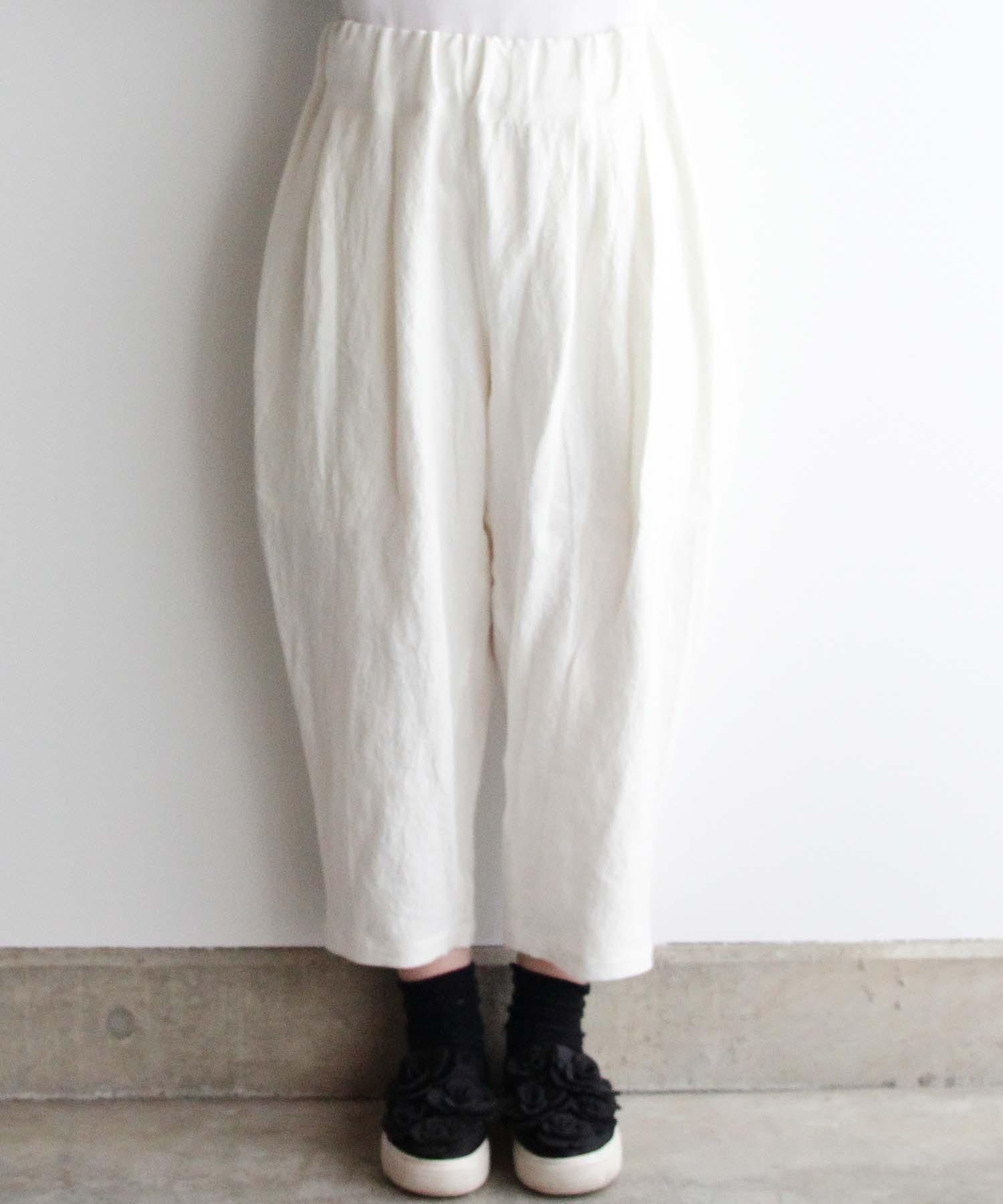 ベルギーリネンのイージーパンツ オフホワイト