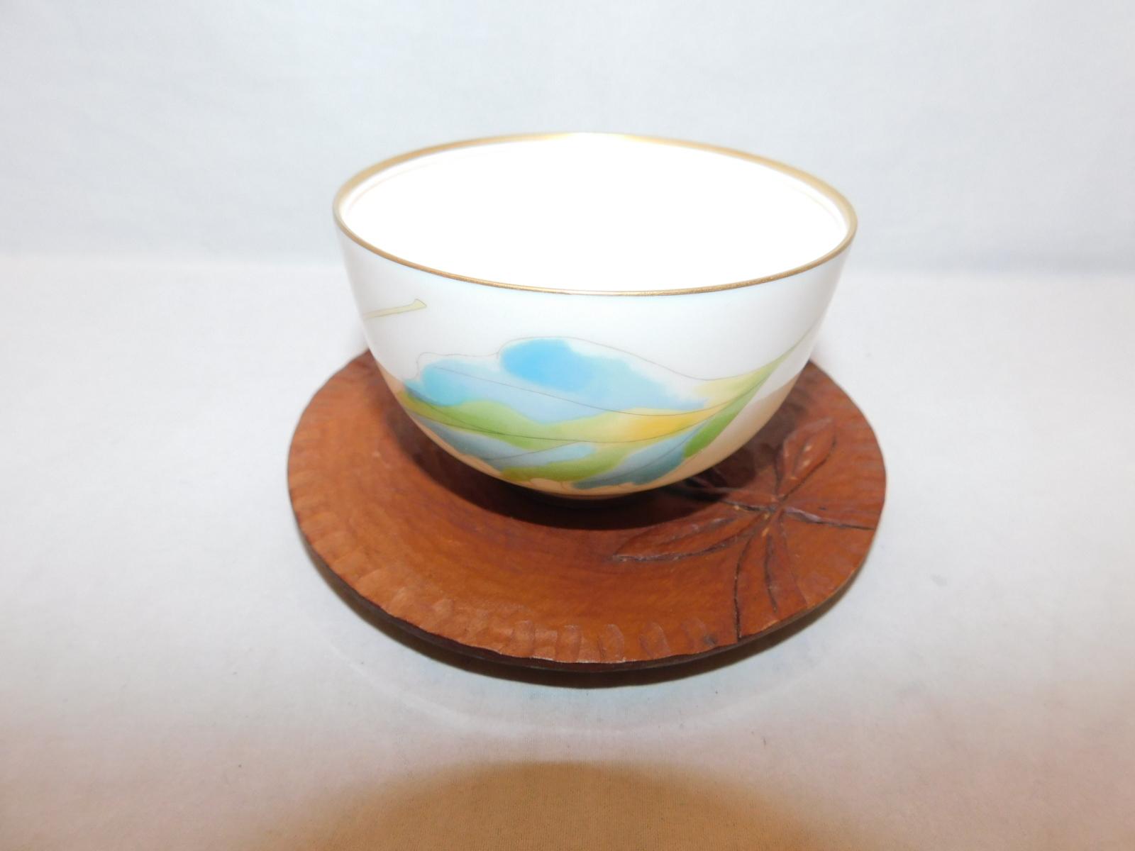 木製丸コースター(5客) wooden Japanese tea six saucers(No30)