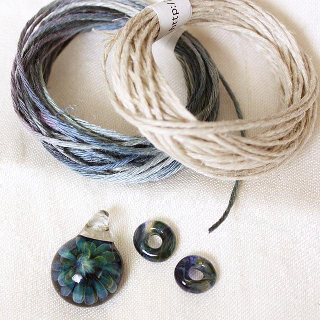 【お得なセット】パイレックスガラスペンダントのネックレスが作れるセット Dark Blue Fana mini(ネコポス発送可能)