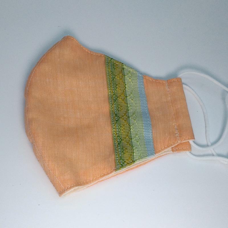 首里花織のマスク/オレンジ【布あそび てくてく】