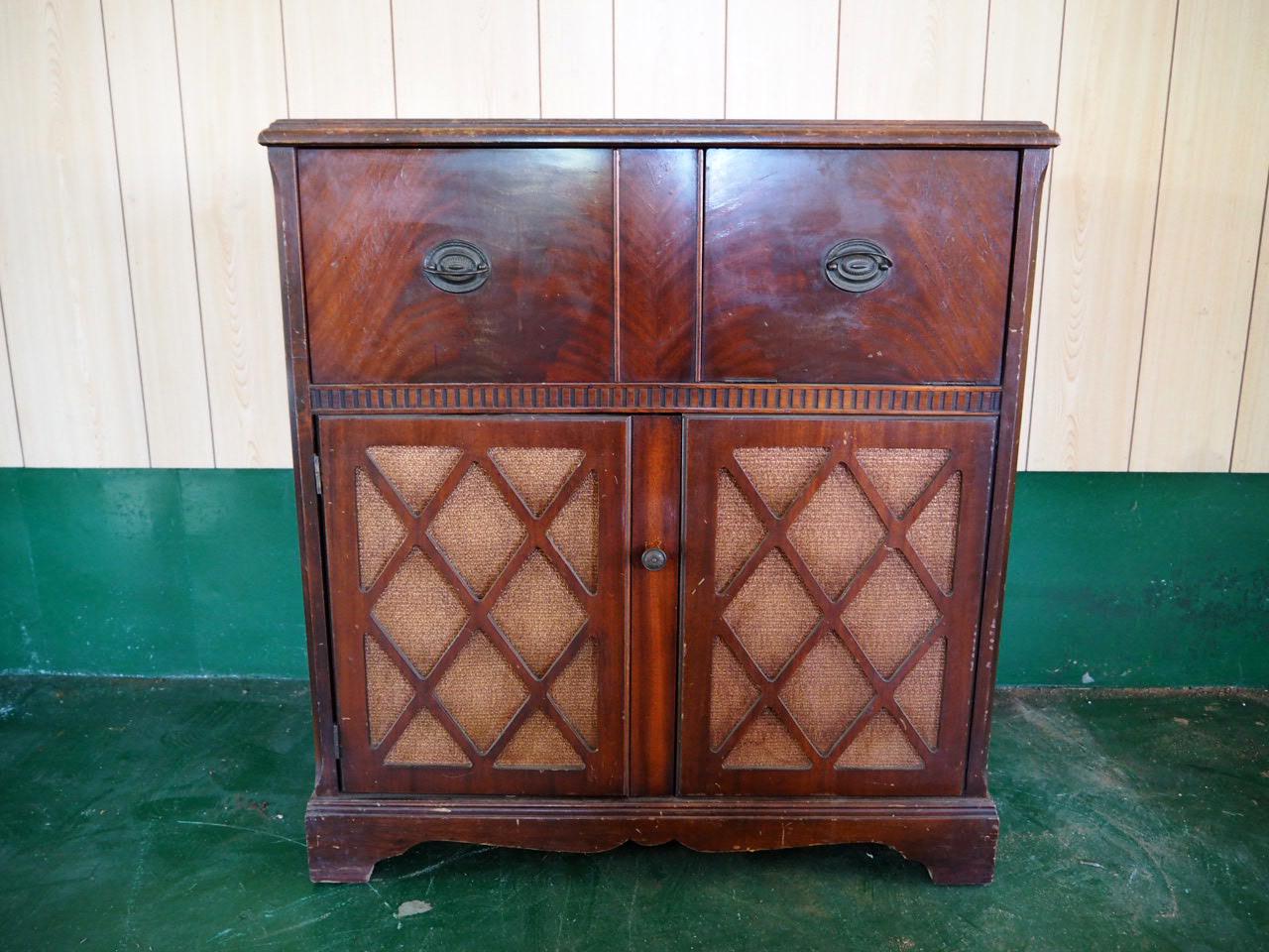 品番1353 silentone レコードプレーヤー台 木製フレーム アンティーク家具 ヴィンテージ