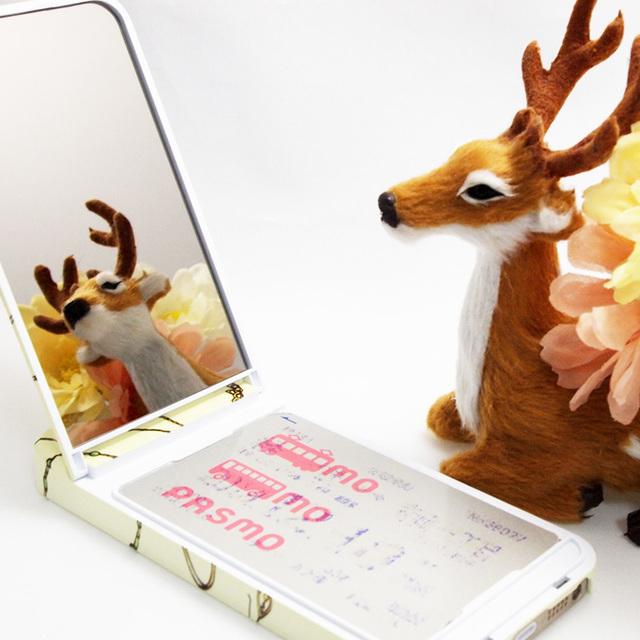 【ミラー付】iPhoneケース ★ICカードフォルダー搭載など多機能タイプ★金運アップ(パステルイエロー)