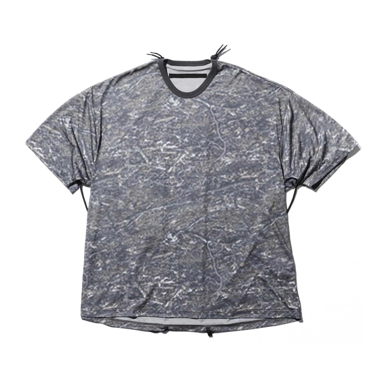 740CUM1-P-KHAKI / プリント コード ビッグ Tシャツ