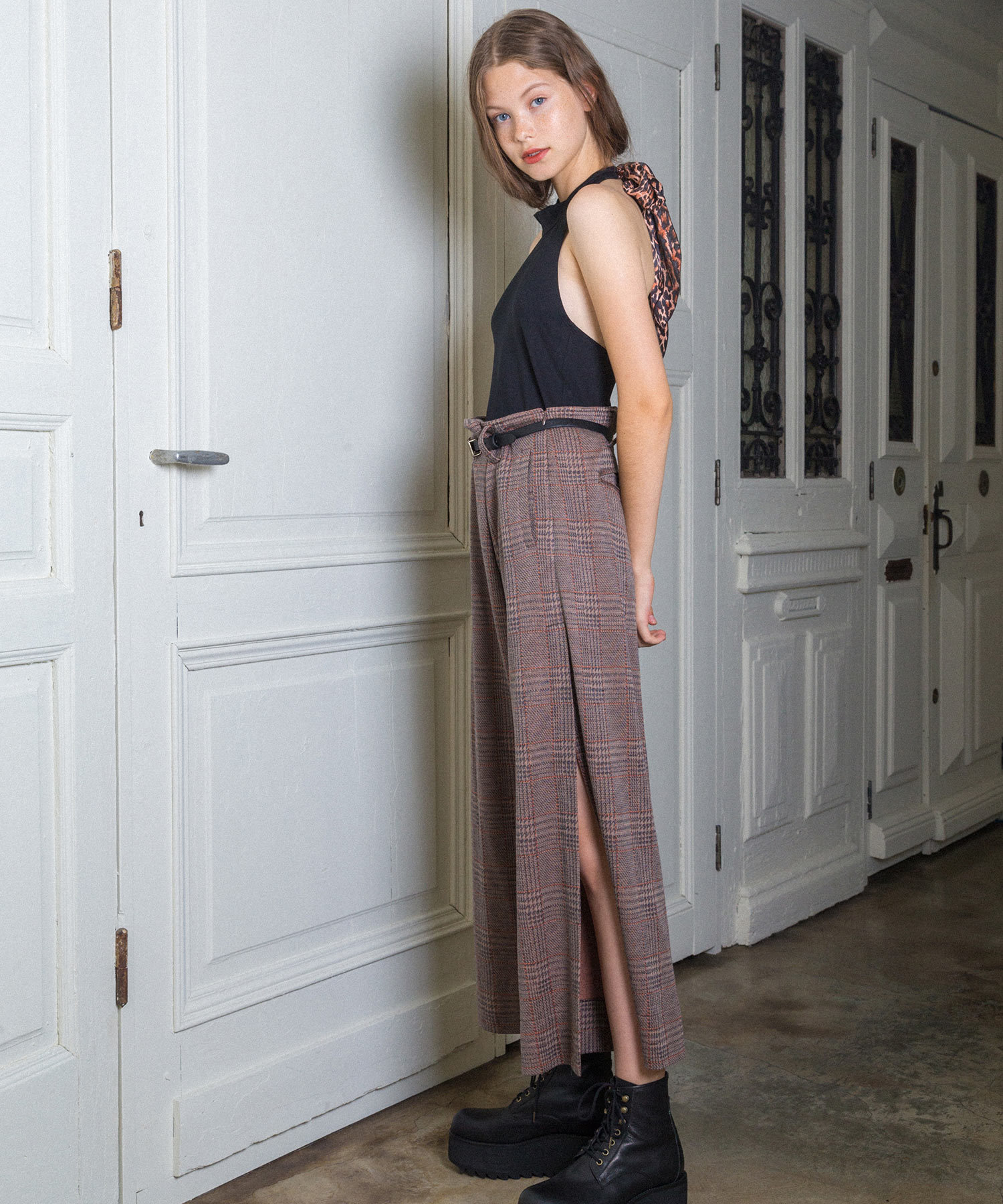 df19SS-22 SLIT WIDE PANTS - CHECK