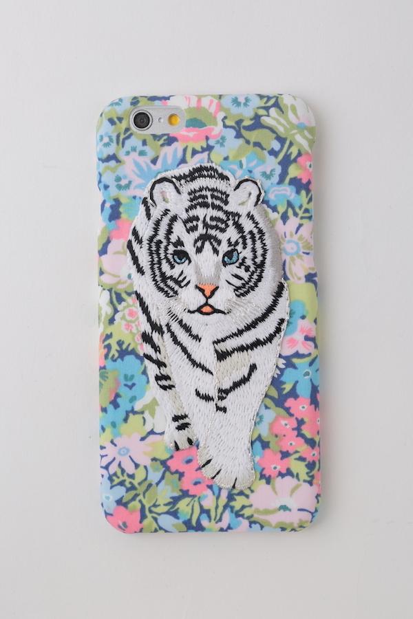 【iPhone7専用】刺繍iPhoneケース ホワイトタイガー【BLUE】