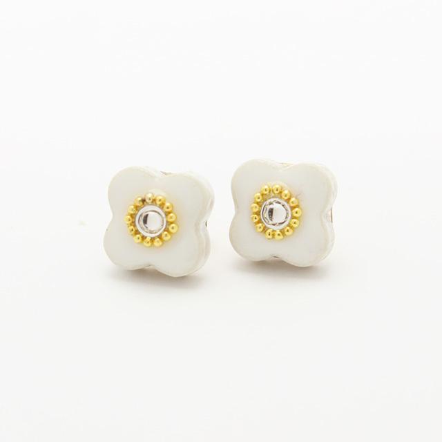 伝統工芸品 美濃焼 小花のビジュー イヤリング&ピアス