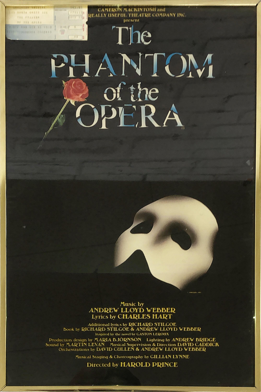 品番1287 ポスター 『The PHANTOM of the OPERA(オペラ座の怪人)』 90年代チケット付き アート 壁掛