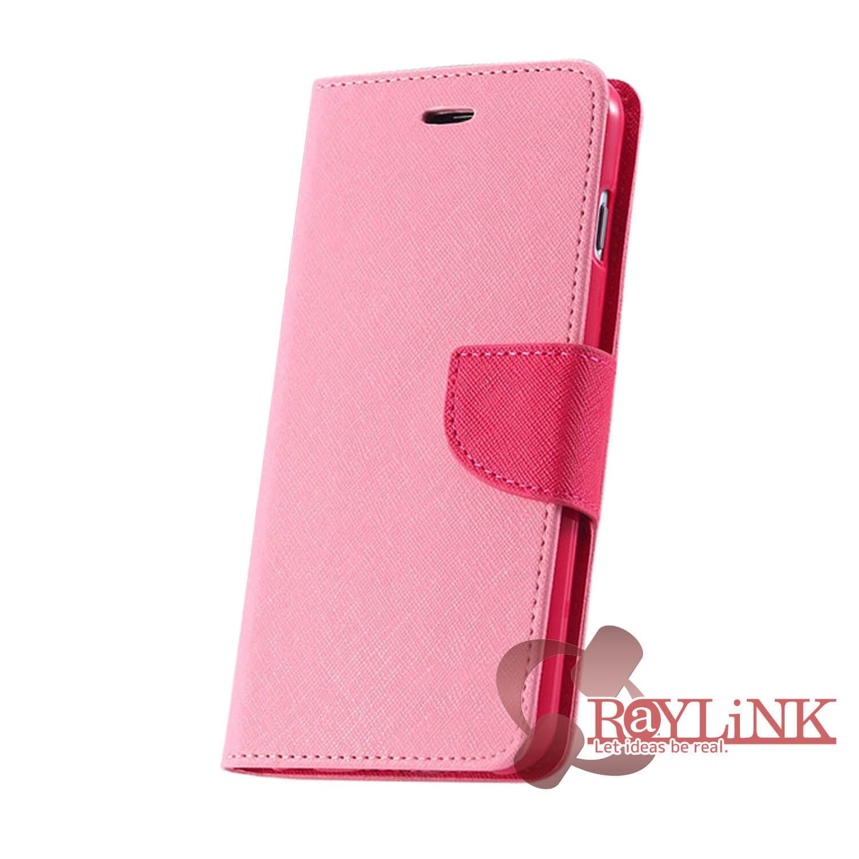 【スマホケース】Floveme iPhone7用二つ折りレザーケース ピンクx赤