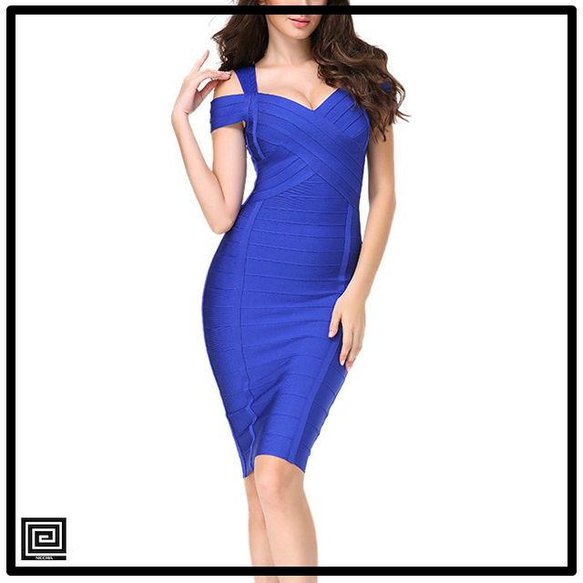 ブルーバンテージオフショルダーミディスカートドレス