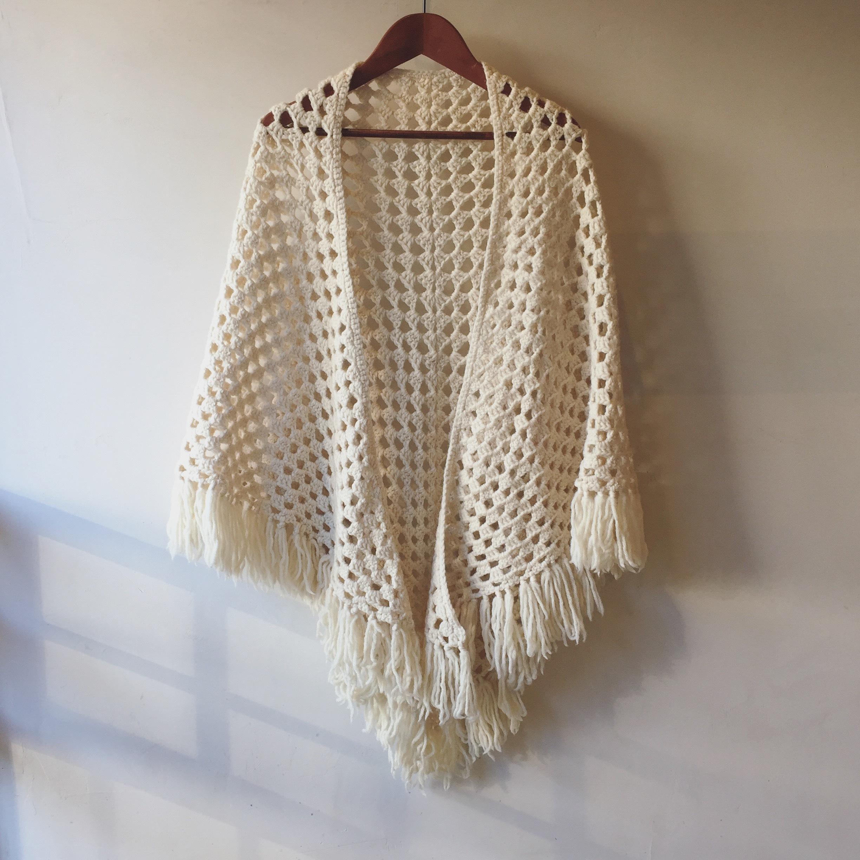 vintage hand knit shawl