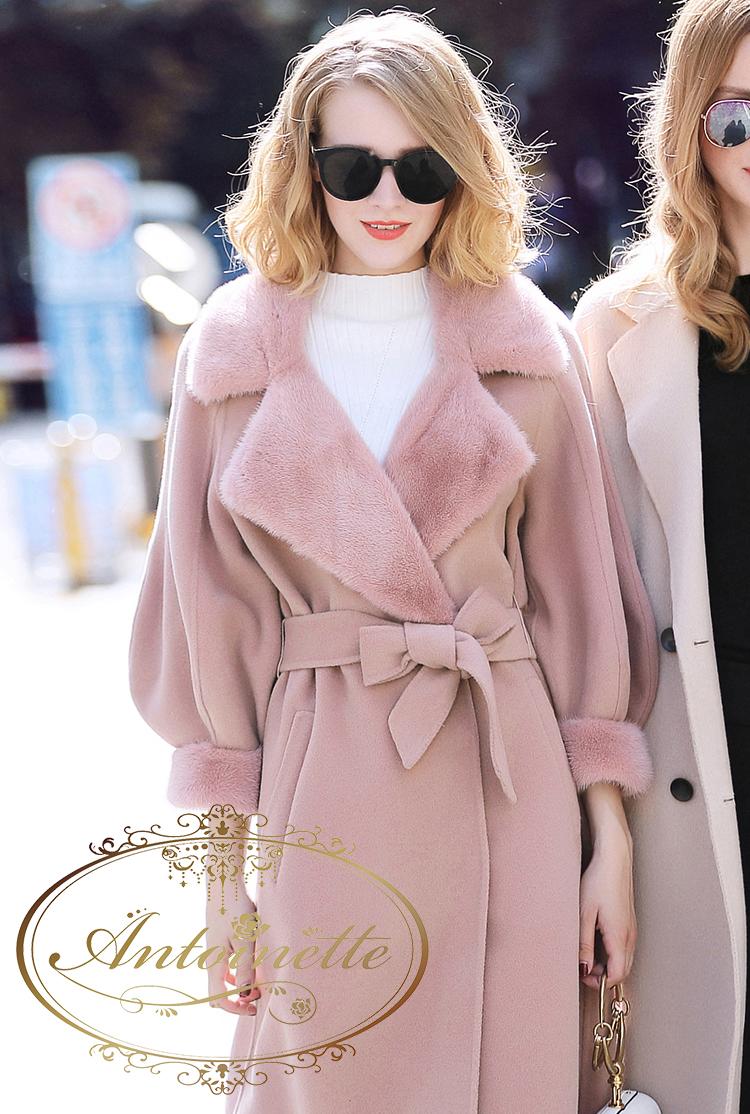 20e5d150dc0cb あったか ミンクファー ウールコート 高品質 韓国高級ブランド 高級素材 かわいい レディース ピンク ホワイト セレブ 海外デザイン 海外服