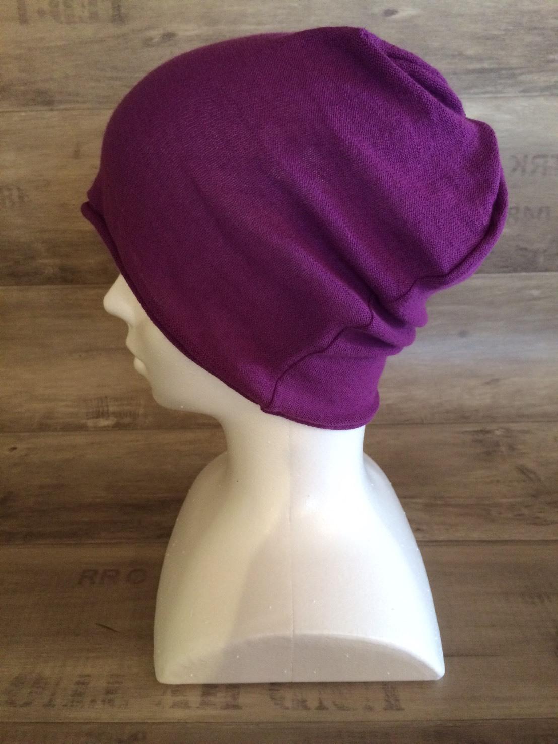 【送料無料】こころが軽くなるニット帽子amuamu|新潟の老舗ニットメーカーが考案した抗がん治療中の脱毛ストレスを軽減する機能性と豊富なデザイン NB-6060|京紫(きょうむらさき)
