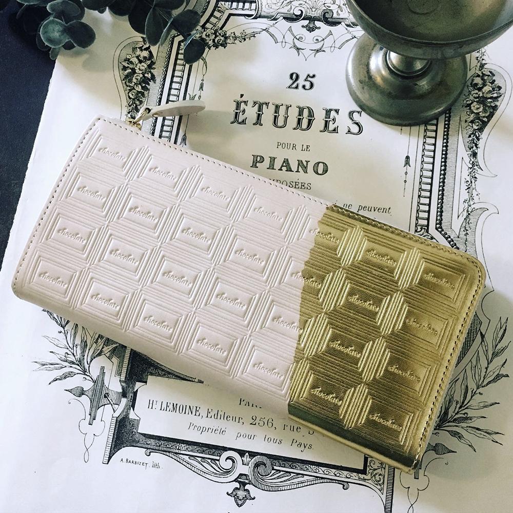 訳あり:革の白チョコ長財布(金の包み紙)