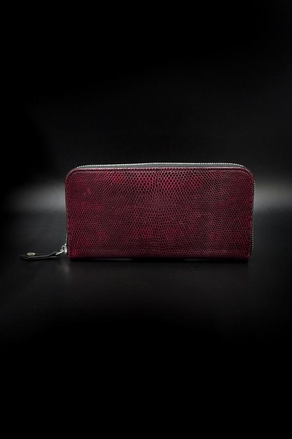 Item No.0358: Round Zip Wallet/Lizard /Black Cherry
