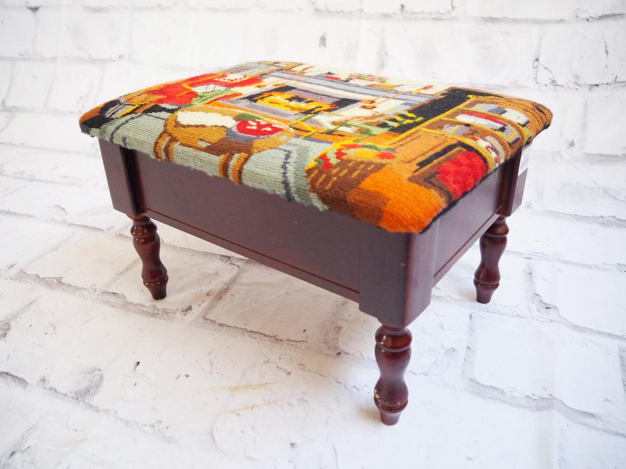 品番2558 powell 木製 スツール 腰掛け椅子 チェアー ファブリック生地 アンティーク家具