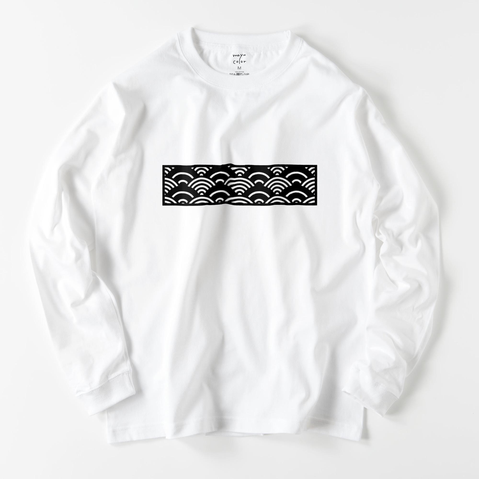 和柄/青海波柄/WHT【京都和モダンTシャツ】©mayu_color.888
