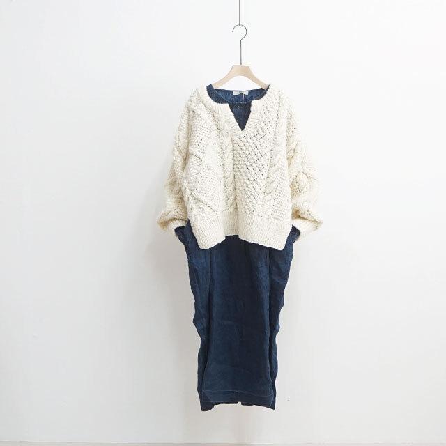 ICHIAntiquites イチアンティークス LINEN INDIGO BLESCH DRESS リネンインディゴブリーチワンピース (品番500629)