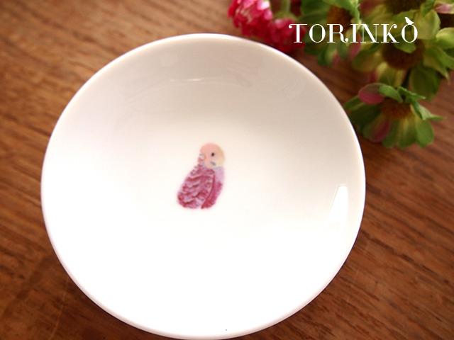 セキセイインコ ピンク(横向き) お皿 小サイズ