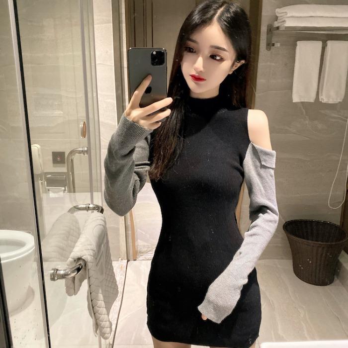 【dress】透かし彫りファッション配色デートワンピース25599836