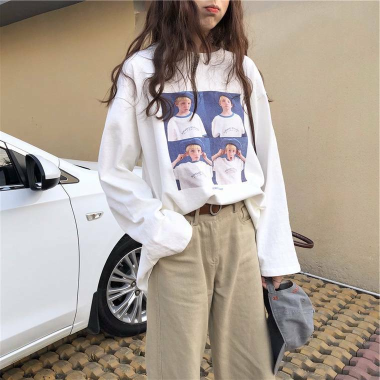 【送料無料】 ルーズ感がおしゃれ♡ アメリカン レトロ プリント Tシャツ 長袖 カットソー ロンT