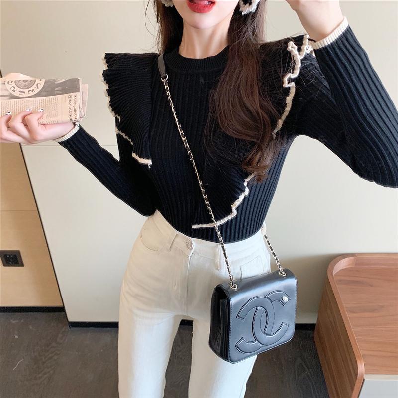 〈カフェシリーズ〉フリルデザインハイカラーセーター【frill blouse high color sweater】