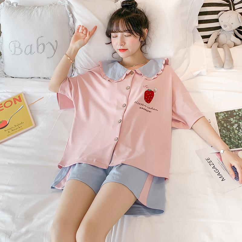 【パジャマ】2点セットシンプル半袖プリントス可愛いスウィートパジャマ28019380