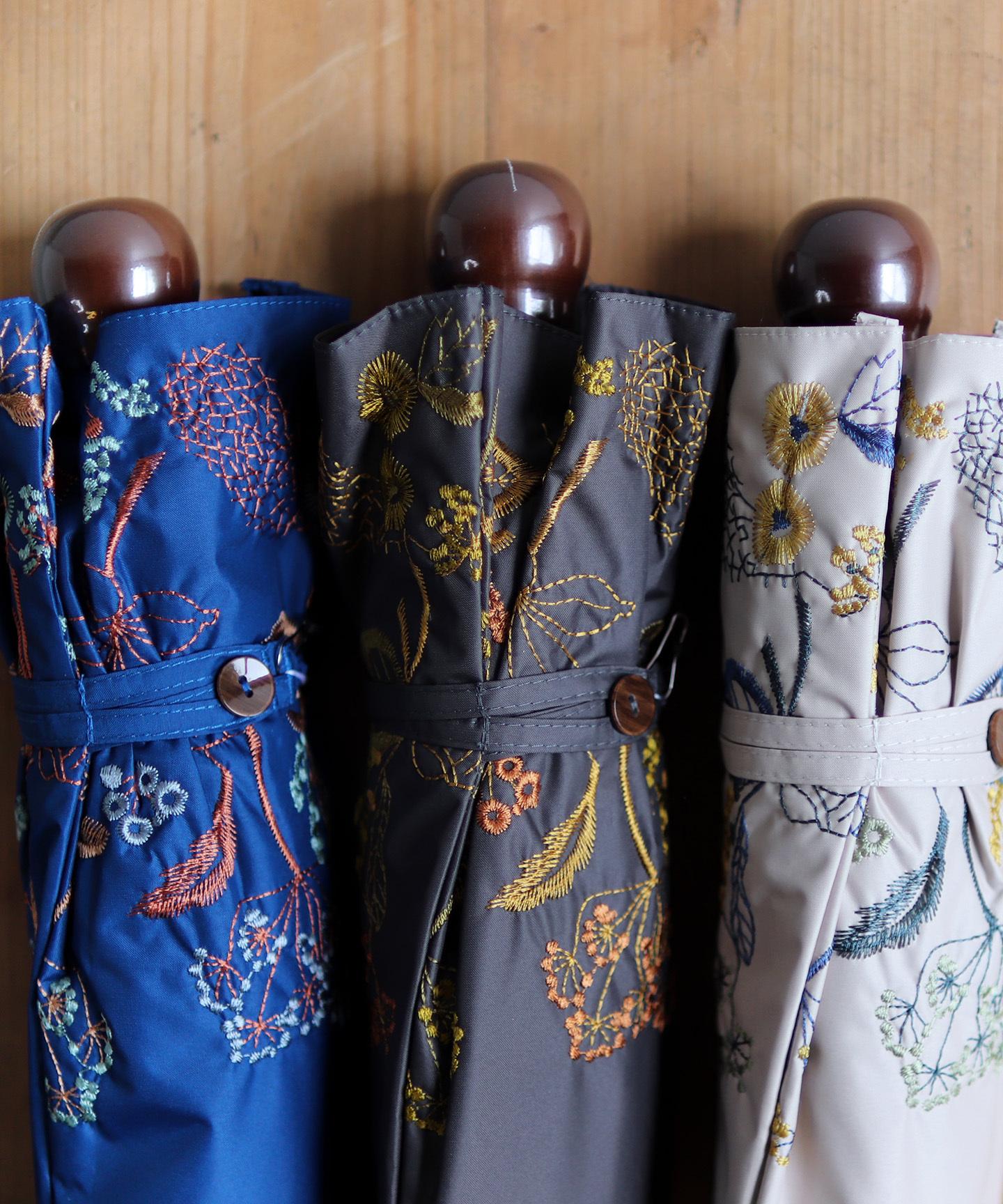 【窓辺の花 刺繍】晴雨兼用日傘(折りたたみ )(ELS49-mini)