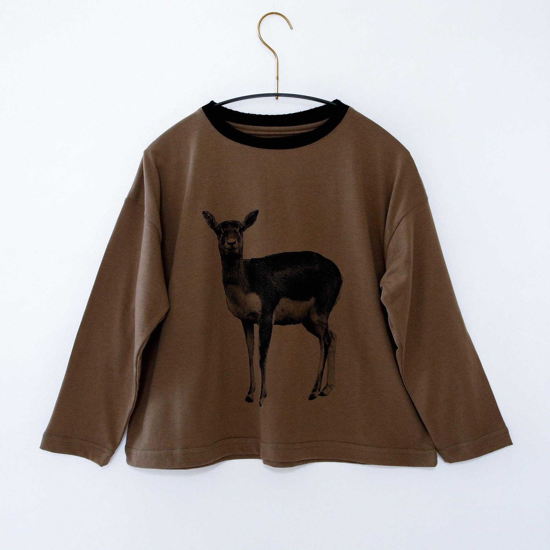 《michirico 2020AW》Deer longsleeveT / brownkhaki / L・XL
