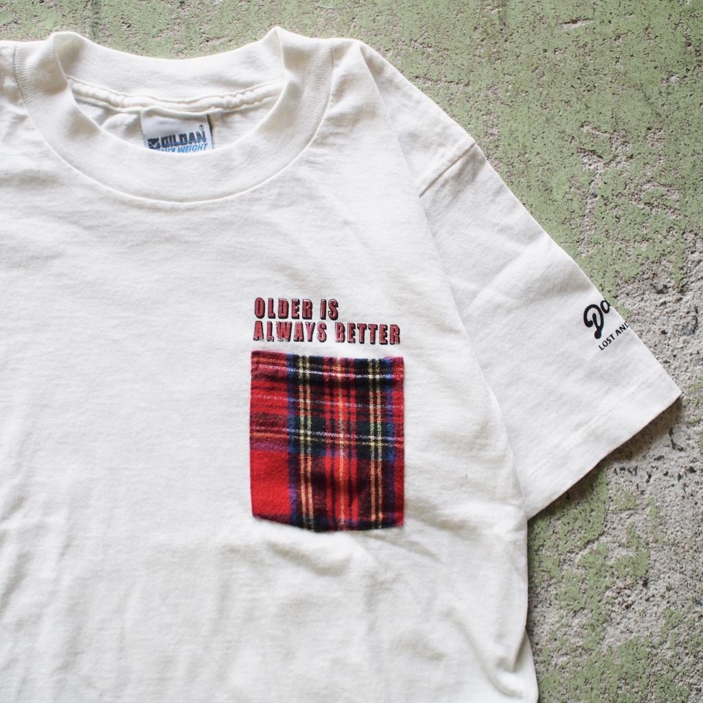 """【LOST AND FOUND】""""Bean Check"""" Remake Pocket T-shirt (KINARI)"""