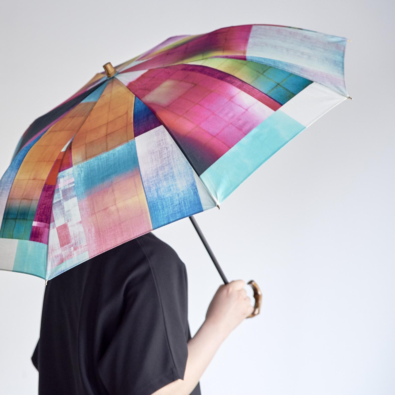 晴雨兼用の折りたたみ日傘 - STONE BLOCK - 1color