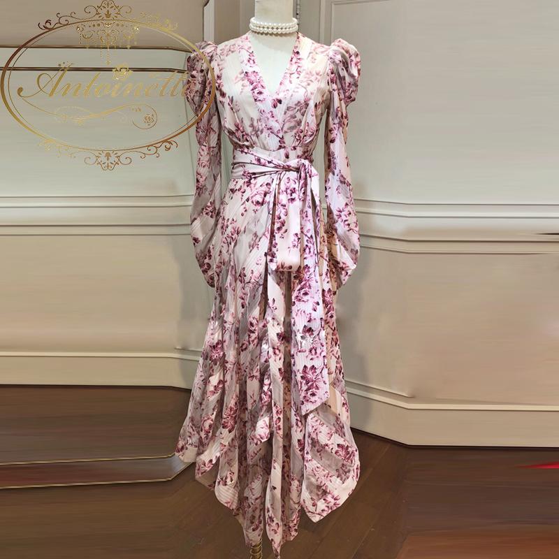 Women Sexy V Neck Vintage Puff Sleeve Flower Print Party Dress Irregular Lady Vestidos Robe Femme