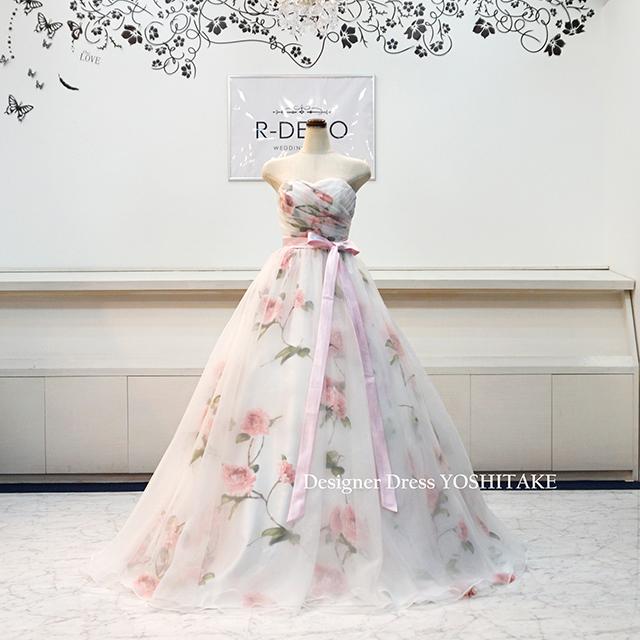 【オーダー制作】ウエディングドレス(Aラインパニエサービス) 花柄オーガンジー 二次会/披露宴 ※制作期間3週間から6週間