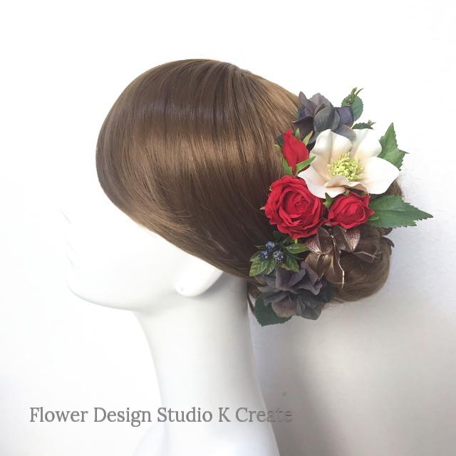赤い薔薇とクリスマスローズのヘッドドレス クリスマス 髪飾り 結婚式 花嫁ヘア