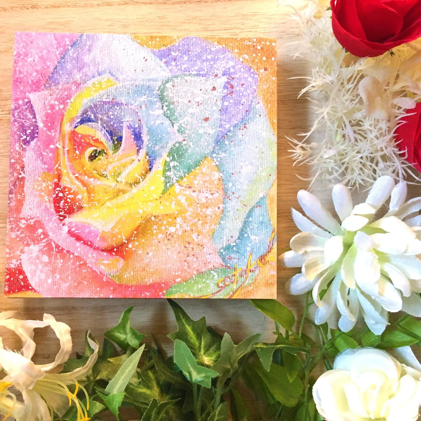絵画 インテリア アートパネル 雑貨 壁掛け 置物 おしゃれ バラ 薔薇 花 虹 アクリル画 パステル画 水彩画 ロココロ 画家 : Satoko Rin 作品 : Rainbow Rose