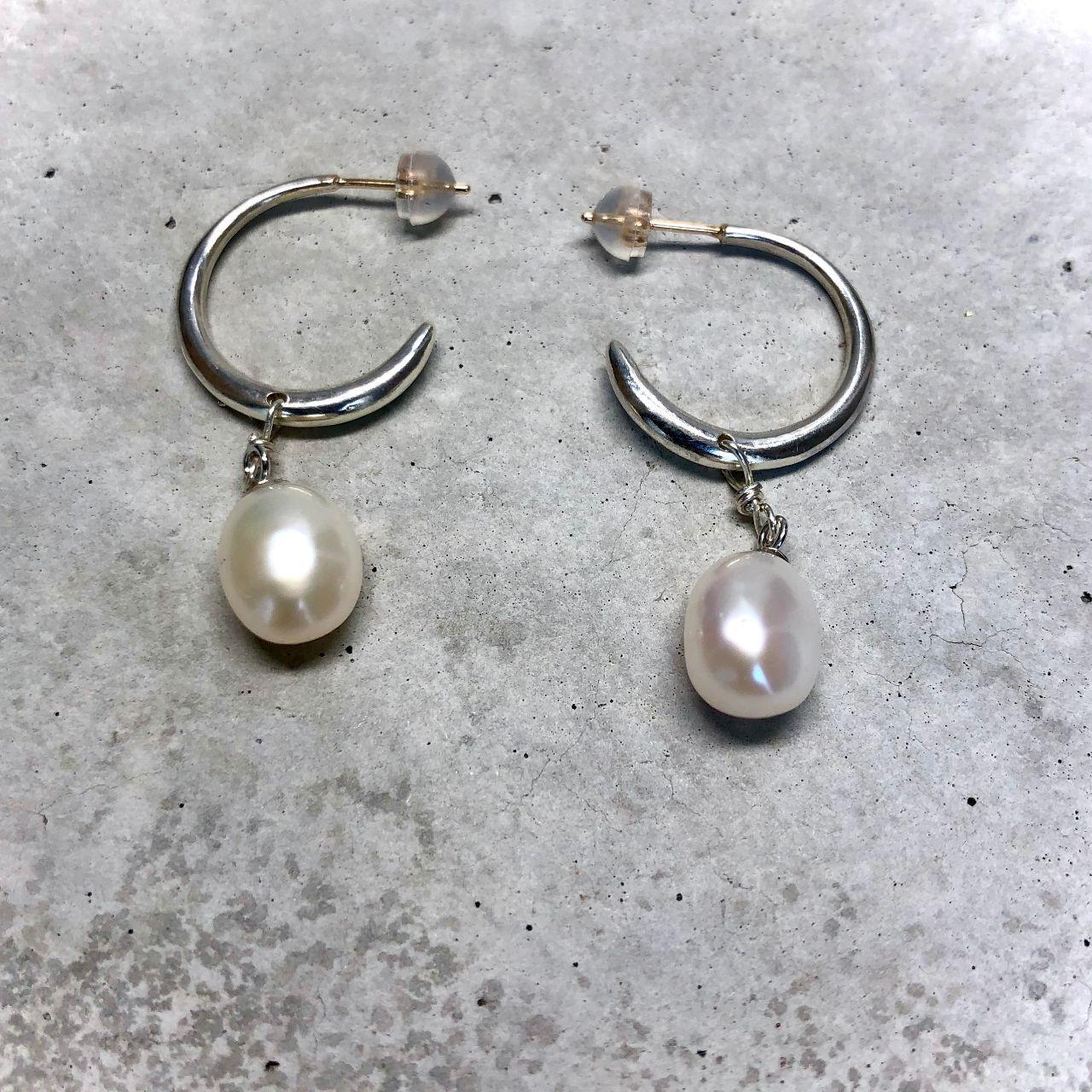 【LP-53SV】Baroque pearl hoop pierced