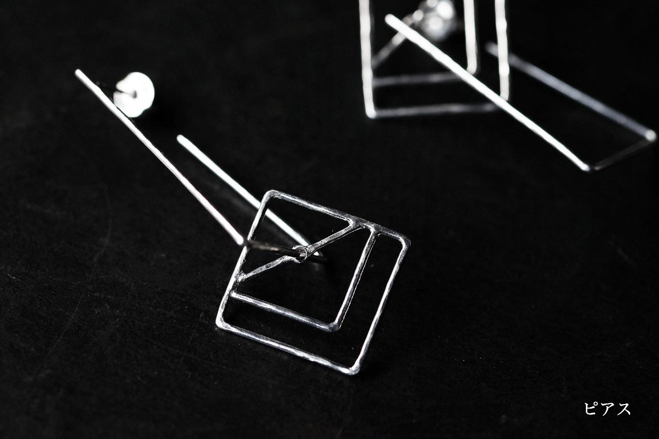 四角と台形のピアスー前方後方墳 ー (silver)
