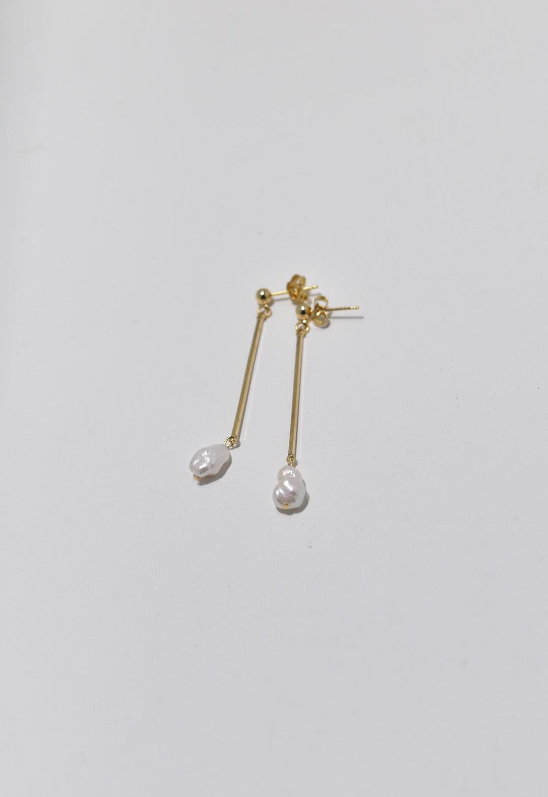 flesh water pearl stick pierce Gold