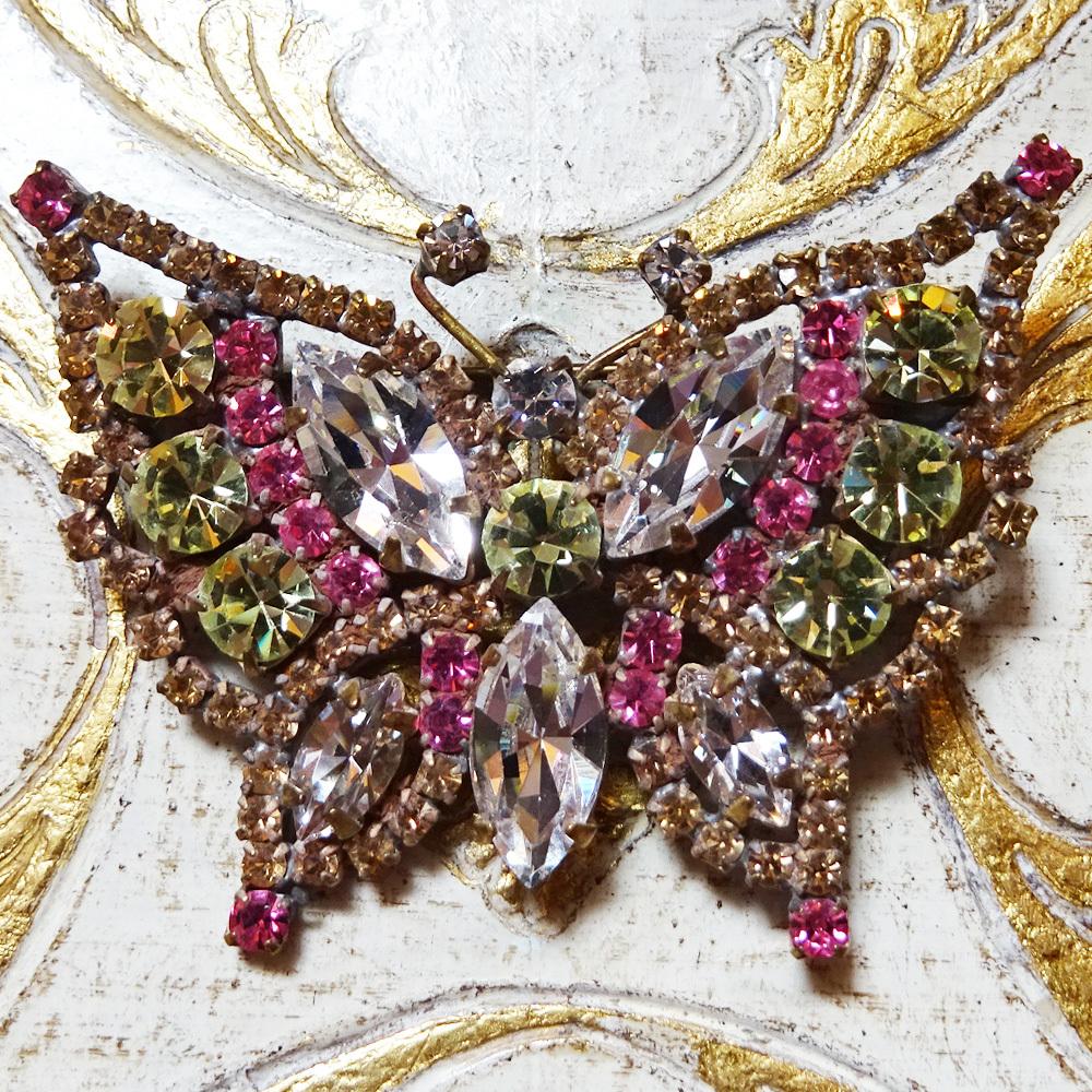 チェコ 蝶のビジューブローチ / ピンク