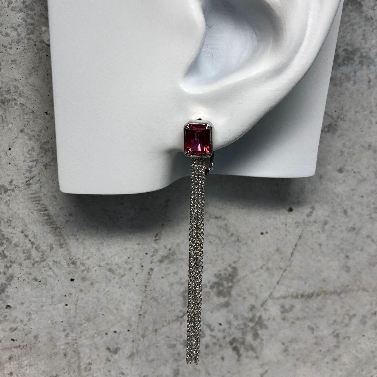 【LE-10BR】Rectangular cut long chain earring