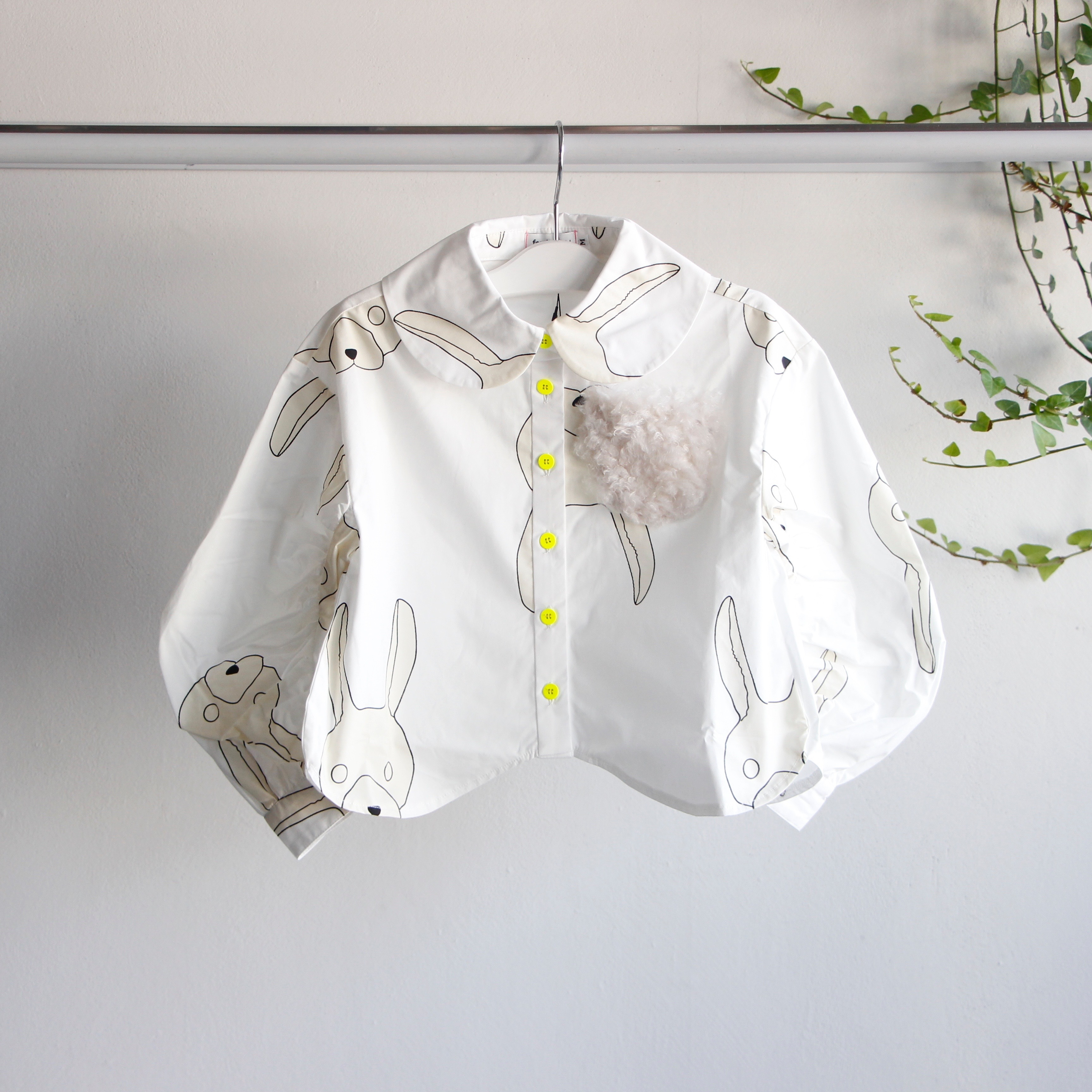 《frankygrow 2019AW》TOTAL HANDLE GATHER SLEEVES SHIRT / white × ivory × rabbit / S・M・L
