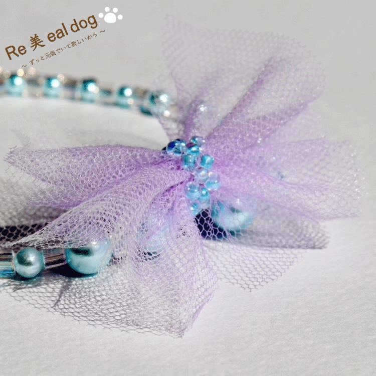 ネックレス / 水色パール / リボン紫