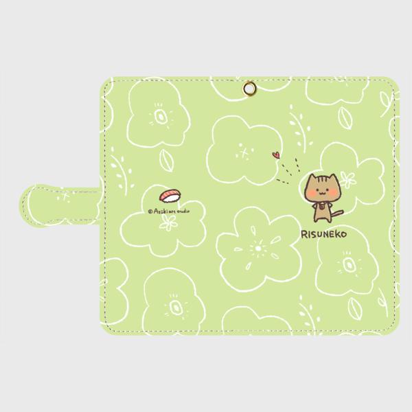 手帳型✿りすねこと花柄お寿司