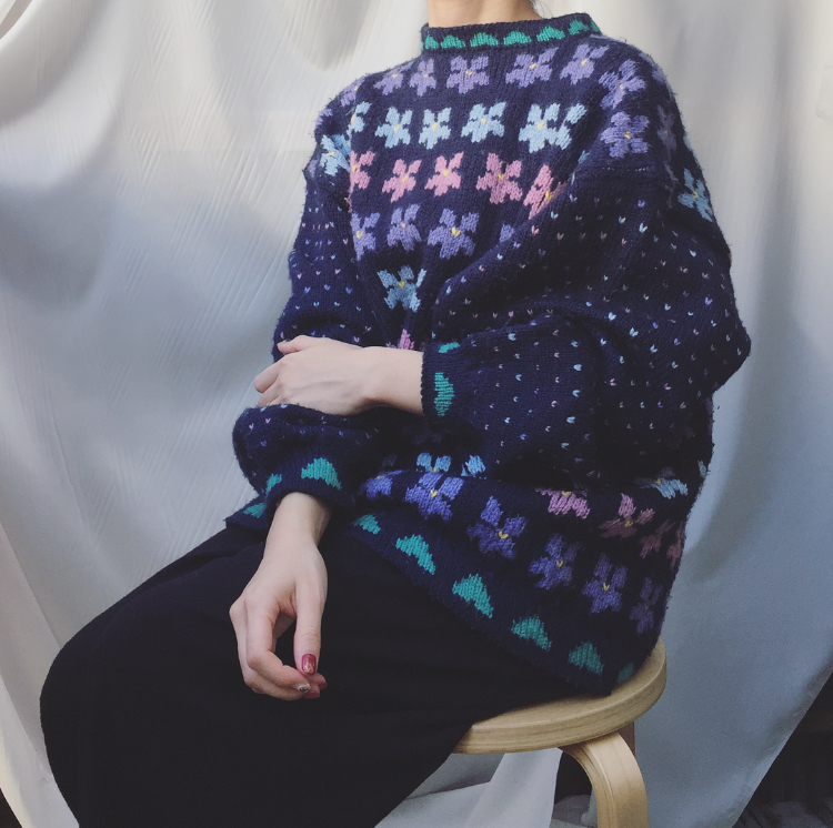 vintage wide sleeve knit sweater