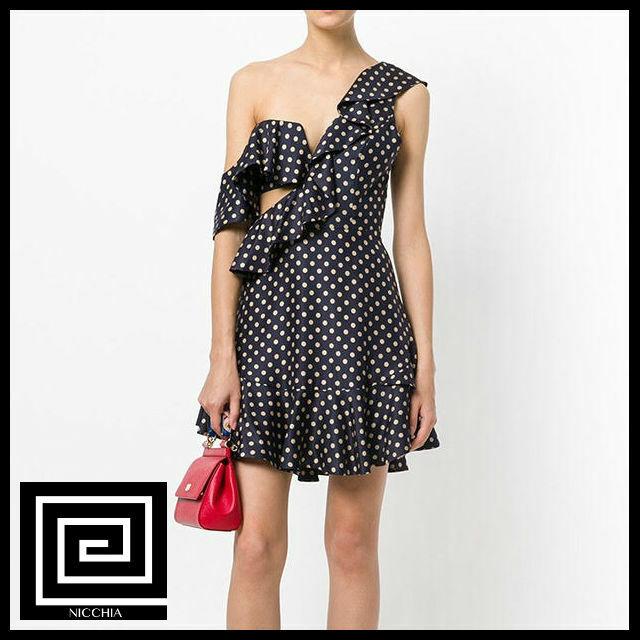 ドットスラッシュネックドレス