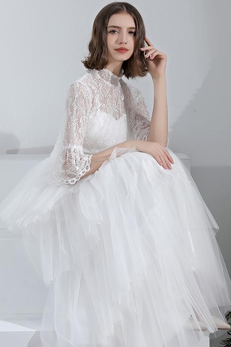 2way袖付き ボレロ エレガント エンパイアドレス ウェディングドレス 2