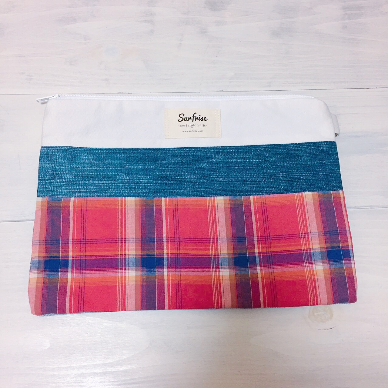 Denim clutch bag Check4(Red)