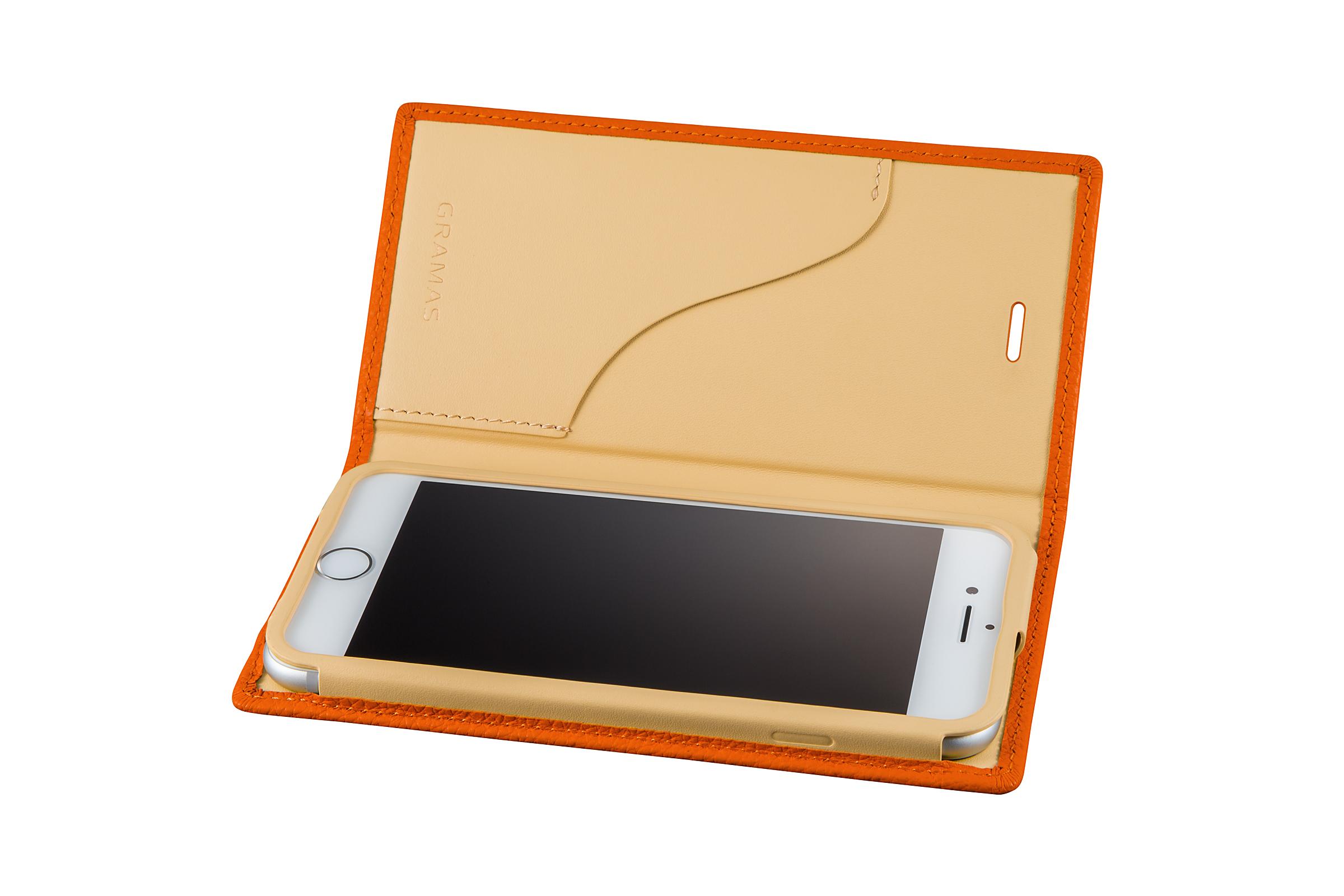 GRAMAS Shrunken-calf Full Leather Case for iPhone 7(Orange) シュランケンカーフ 手帳型フルレザーケース - 画像3